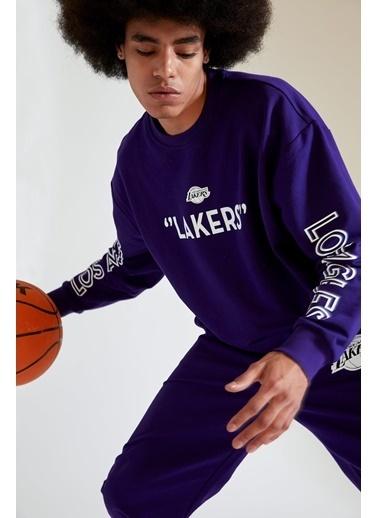DeFacto NBA Lisanslı Oversize Unisex Sweatshirt ve Eşofman Altı Takım Mor